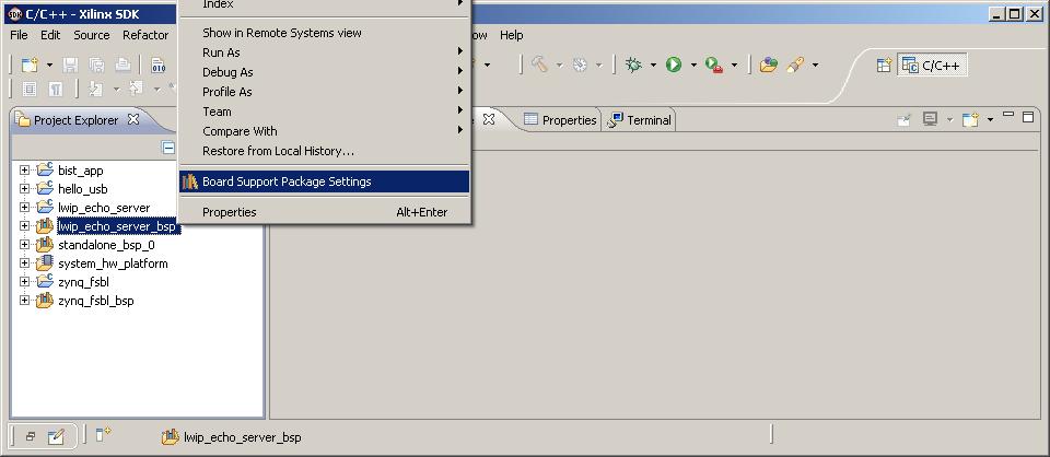 AR# 53593: 14 4 SDK BSP created for lwIP Echo Server does